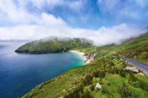 Картинка Ирландия Побережье Дороги Облако Achill Island Природа