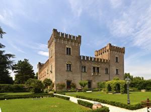 Картинка Италия Замок Уличные фонари Кустов Дизайн Sforza Castle, Milan