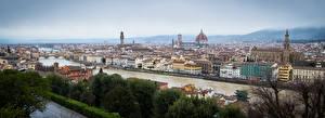 Картинки Италия Флоренция Здания Река Мосты Панорамная Города
