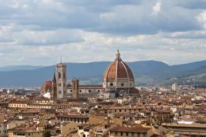 Фото Италия Флоренция Купол Крыша Горизонта Tuscany