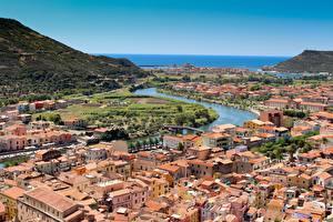 Фотография Италия Речка Дома Сверху Bosa, Sardinia, Oristano город