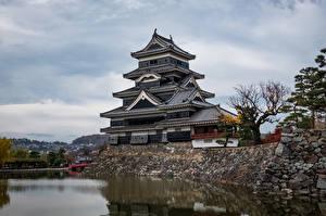 Фотография Япония Замок Пруд Matsumoto Castle Города