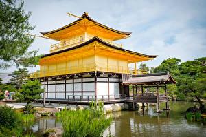 Фото Япония Киото Храм Пруд Kinkaku-ji Города
