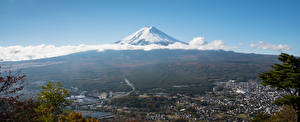 Фотография Япония Фудзияма Горы Панорамная Облако Вулкана Природа