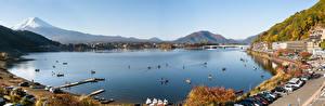 Картинка Япония Гора Фудзияма Озеро Панорамная Lake Kawaguchi