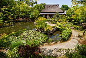 Картинка Япония Пруд Сады Дома Дерева Isui-en, Nara