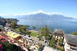 Фотография Озеро Побережье Кафе Горизонт Сверху Montreux, Lake Geneva Города
