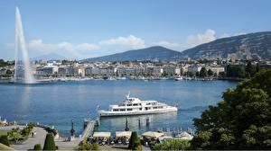 Обои Озеро Швейцария Речные суда Фонтаны Причалы Same-Do Fountain, Lake Geneva, Geneva