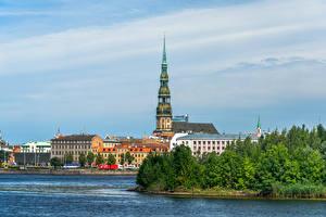 Картинка Латвия Церковь Дома Башня Riga, St Peter's Church