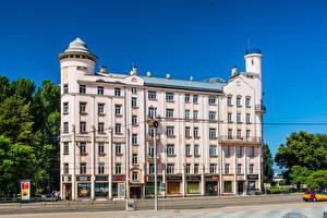 Картинка Латвия Дома Улица Riga Города