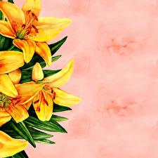 Фотография Лилии Рисованные Бумаги Шаблон поздравительной открытки Цветы