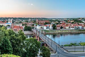 Картинка Литва Каунас Речка Мосты river Nemunas, Great Bridge город