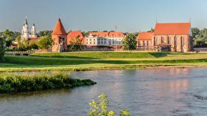 Картинки Литва Каунас Реки Замок river Neris, Kaunas Castle