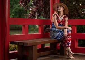 Фотография Скамейка Скамья Платье Платья Взгляд Magdalena Warszawa смотрят