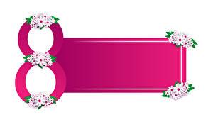 Обои для рабочего стола 8 марта Ромашка Шаблон поздравительной открытки Белый фон
