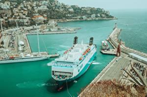 Фото Пристань Франция Корабль Nice, Alpes-Maritimes Города