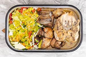 Фото Мясные продукты Овощи Салаты Курица запеченная