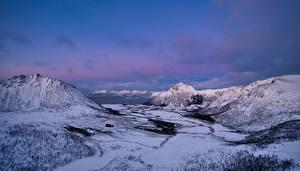Картинка Норвегия Лофотенские острова Гора Снег Hadseløya