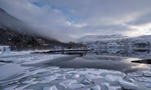 Фото Норвегия Гора Лофотенские острова Облако Льда fjord, Hinnøya Природа