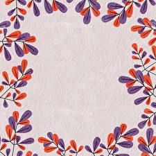 Фотографии Рисованные Ветвь Листья Бумаге Шаблон поздравительной открытки