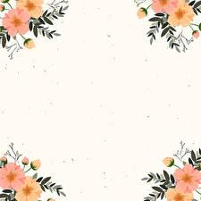 Фотографии Рисованные Ветка Листья Шаблон поздравительной открытки цветок