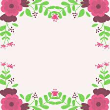 Фото Рисованные Ветки Шаблон поздравительной открытки Цветы