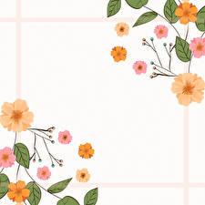 Фотографии Рисованные Шаблон поздравительной открытки Листва цветок