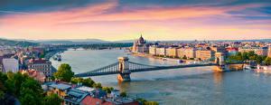 Фотография Панорама Рассветы и закаты Реки Мосты Речные суда Будапешт Венгрия Горизонт Сверху Danube, Chain bridge город