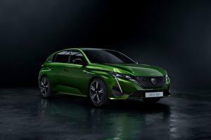 Картинки Пежо Зеленые Металлик Гибридный автомобиль 308 HYBRID, Worldwide, 2021 Автомобили