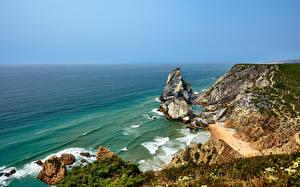 Обои Португалия Берег Океан Утес Cabo da Roca Природа