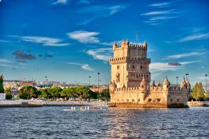 Фотографии Португалия Лиссабон Небо Речка Башня Belem Tower