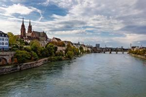 Фотографии Речка Мост Швейцария Basel, Rhine, Munster Города