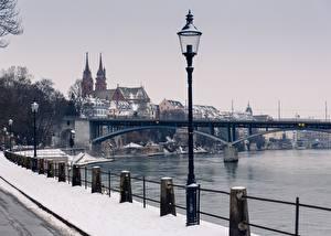 Фотография Реки Мосты Швейцария Зимние Забора Уличные фонари Снега Basel, Rhine, Munster