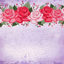 Картинка Роза Рисованные Бумаги Шаблон поздравительной открытки цветок