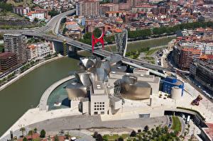 Картинка Испания Мосты Речка Сверху Музей Guggenheim Museum, Bilbao, Biscay, Nervion River Города