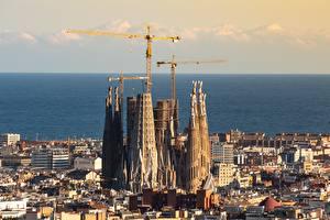 Фото Испания Церковь Барселона Горизонт Sagrada Familia, Catalonia город