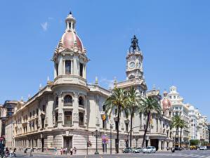 Картинка Испания Пальма Уличные фонари Улица City Hall, Valencia