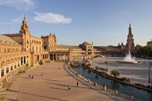 Обои Испания Фонтаны Мост Городская площадь Уличные фонари Plaza de Espana, Seville, Andalusia