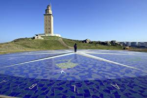 Картинки Испания Маяки Башня Tower Hercules Lighthouse, La Coruna, Galicia