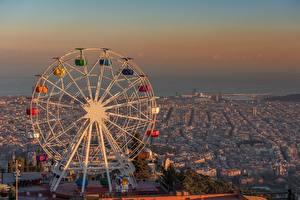 Картинка Испания Рассветы и закаты Барселона Колесом обозрения Tibidabo Города