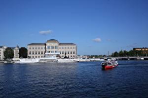 Картинки Стокгольм Швеция Речные суда Музеи город
