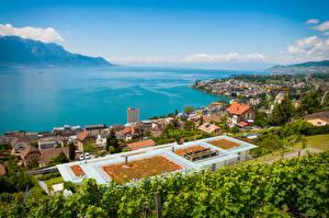 Фото Швейцария Озеро Побережье Дома Горизонта Сверху Montreux, Lake Geneva город