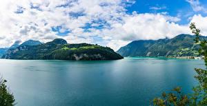 Фотографии Швейцария Озеро Остров Утес Lake Lucerne Природа