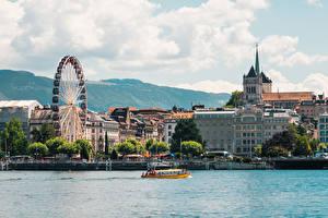 Фотографии Швейцария Озеро Катера Колесо обозрения Geneva, Lake Geneva город
