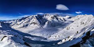 Фотография Швейцария Гора Альпы Снегу Aletsch glacier Природа