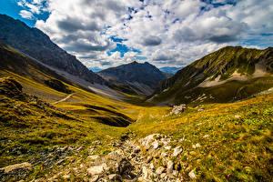 Картинки Швейцария Горы Альпы Облака Graubünden Природа