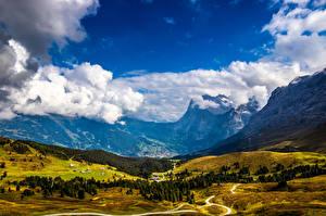 Фотографии Швейцария Гора Альп Облако Долина Jungfrau Природа