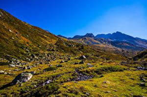 Фотография Швейцария Горы Камень Альп Graubünden Природа