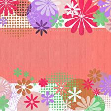 Картинки Шаблон поздравительной открытки Круги Лепестки Разноцветные