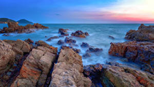 Обои Таиланд Побережье Море Утес Chanthaburi